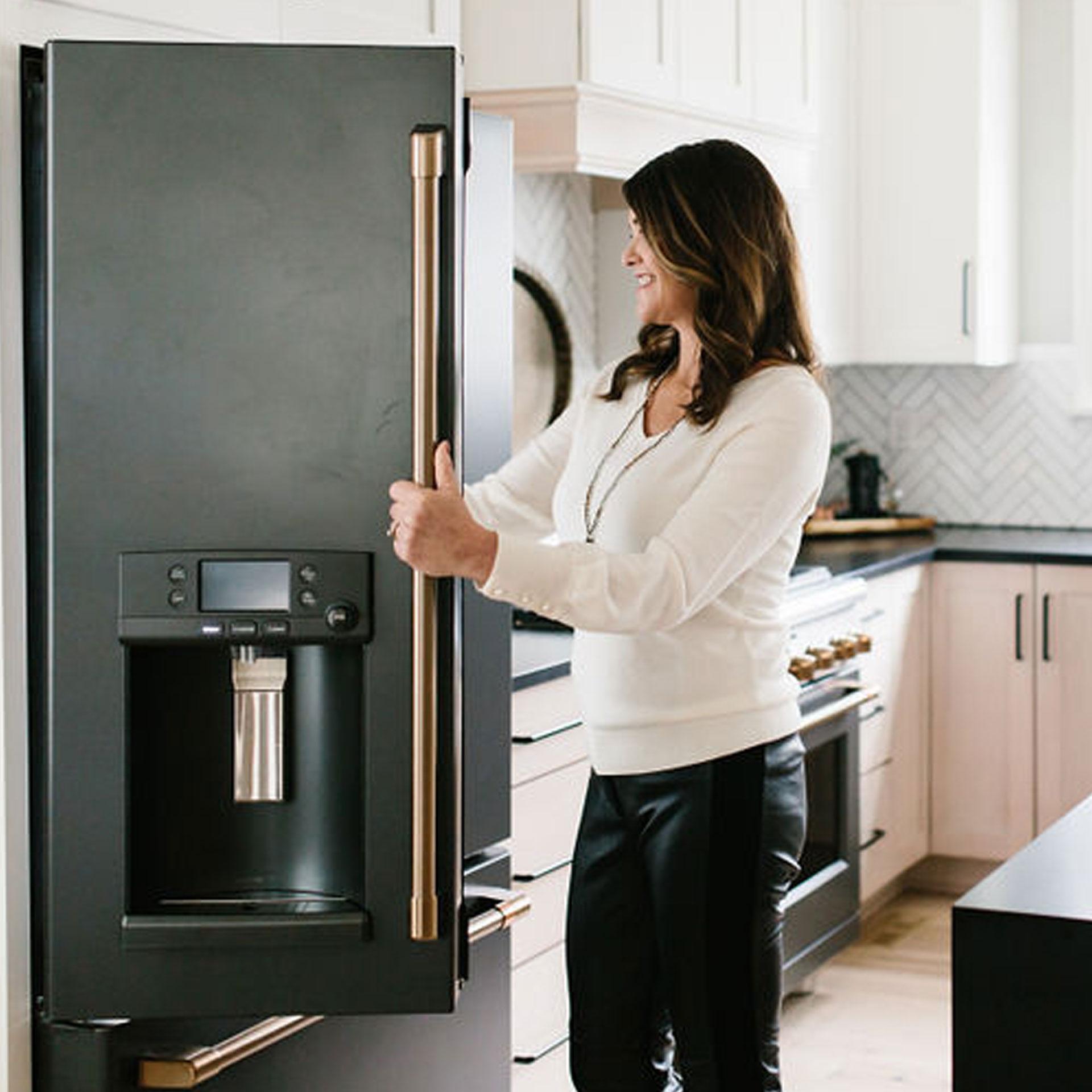 Gretchen Black opening matte black Café refrigerator