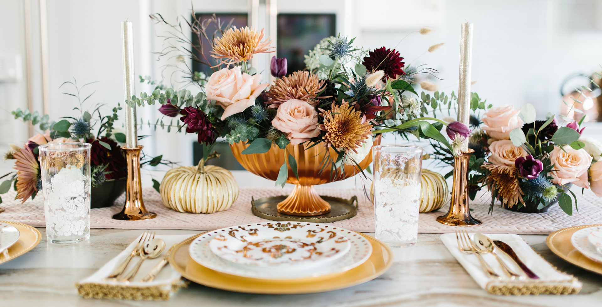 fall inspired kitchen island tablescape