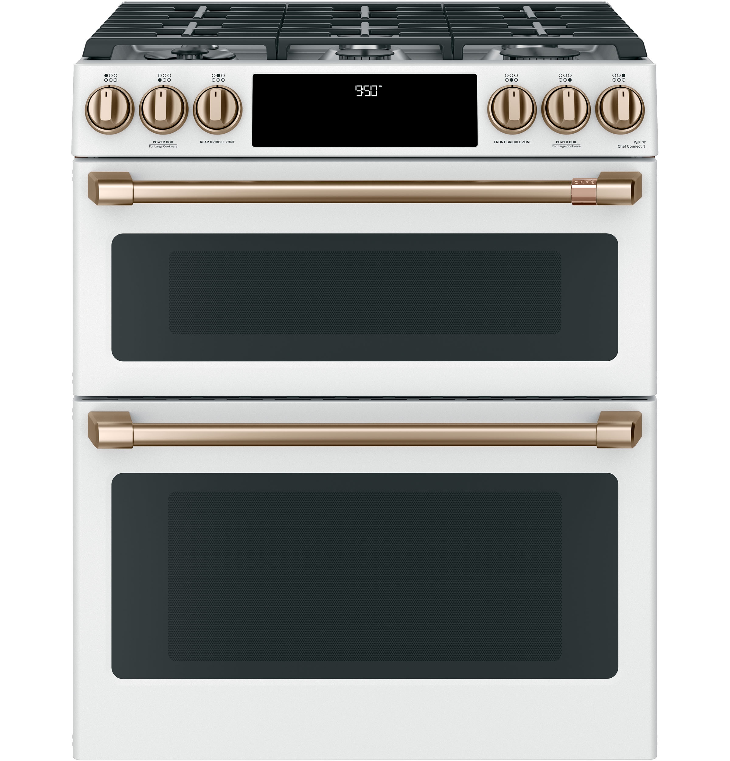 matte white double oven induction range
