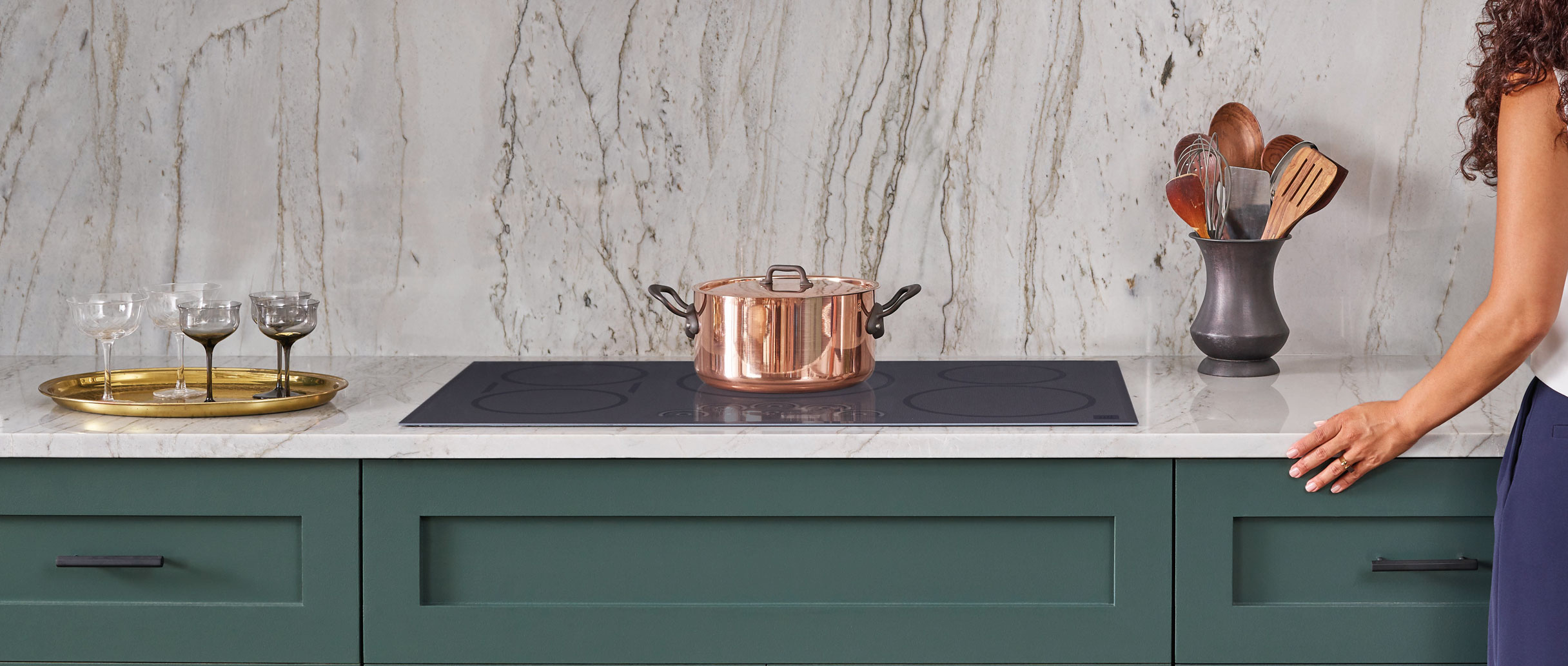 induction-cooktop-green-cabinets