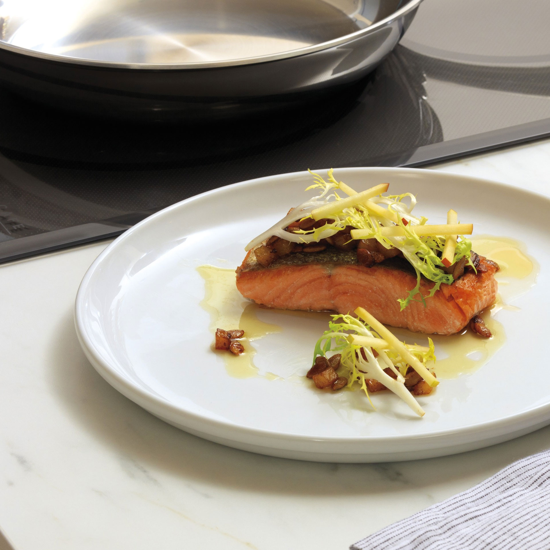 Gourmet guided cooktop with salmon