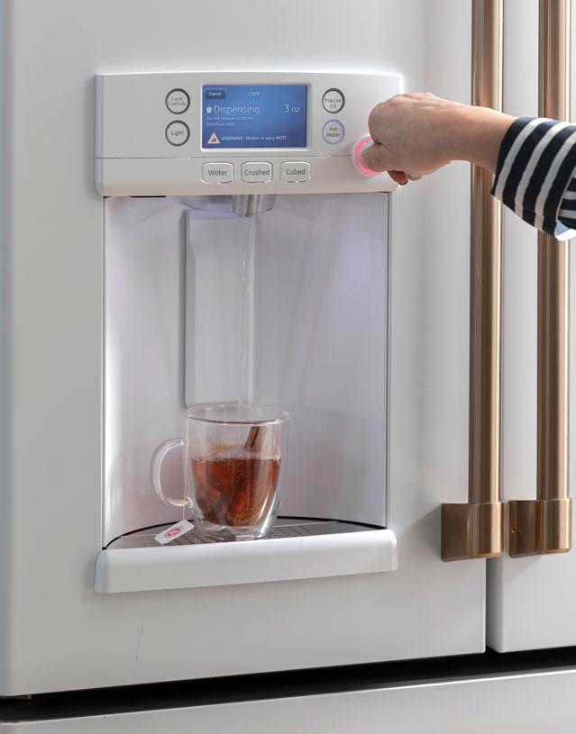 matte white refrigerator with keurig warm water dispenser