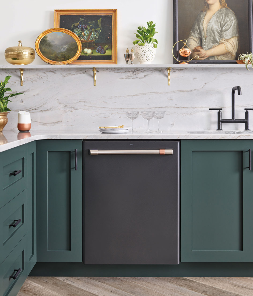 matte black dishwasher with green cabinets