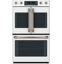 matte white french door double wall oven