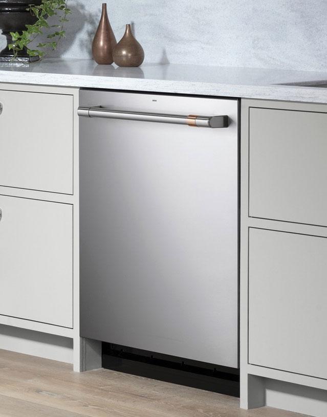 stainless steel dishwasher with grey cabinets