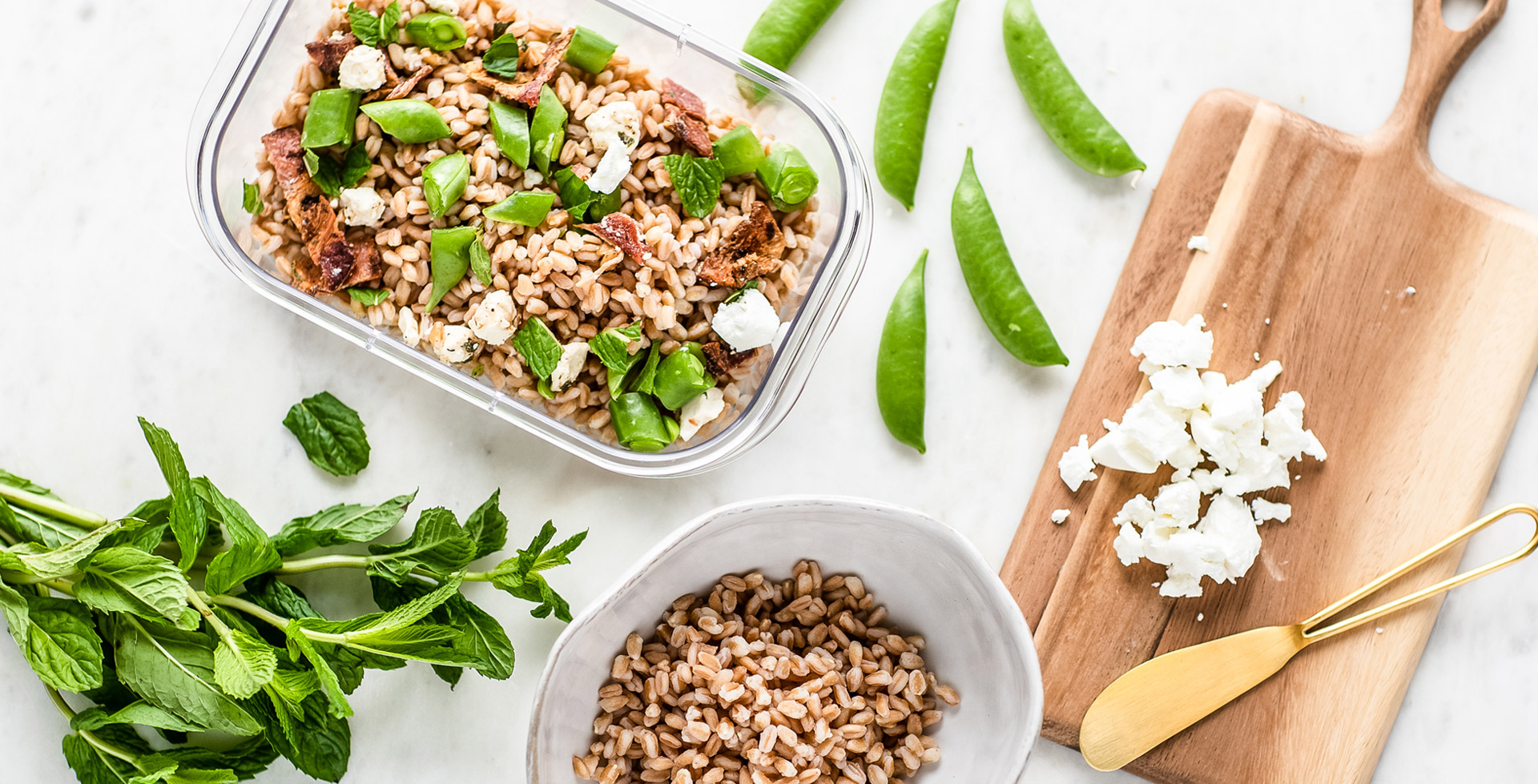 Farro Salad with Peas, Shallots & Feta
