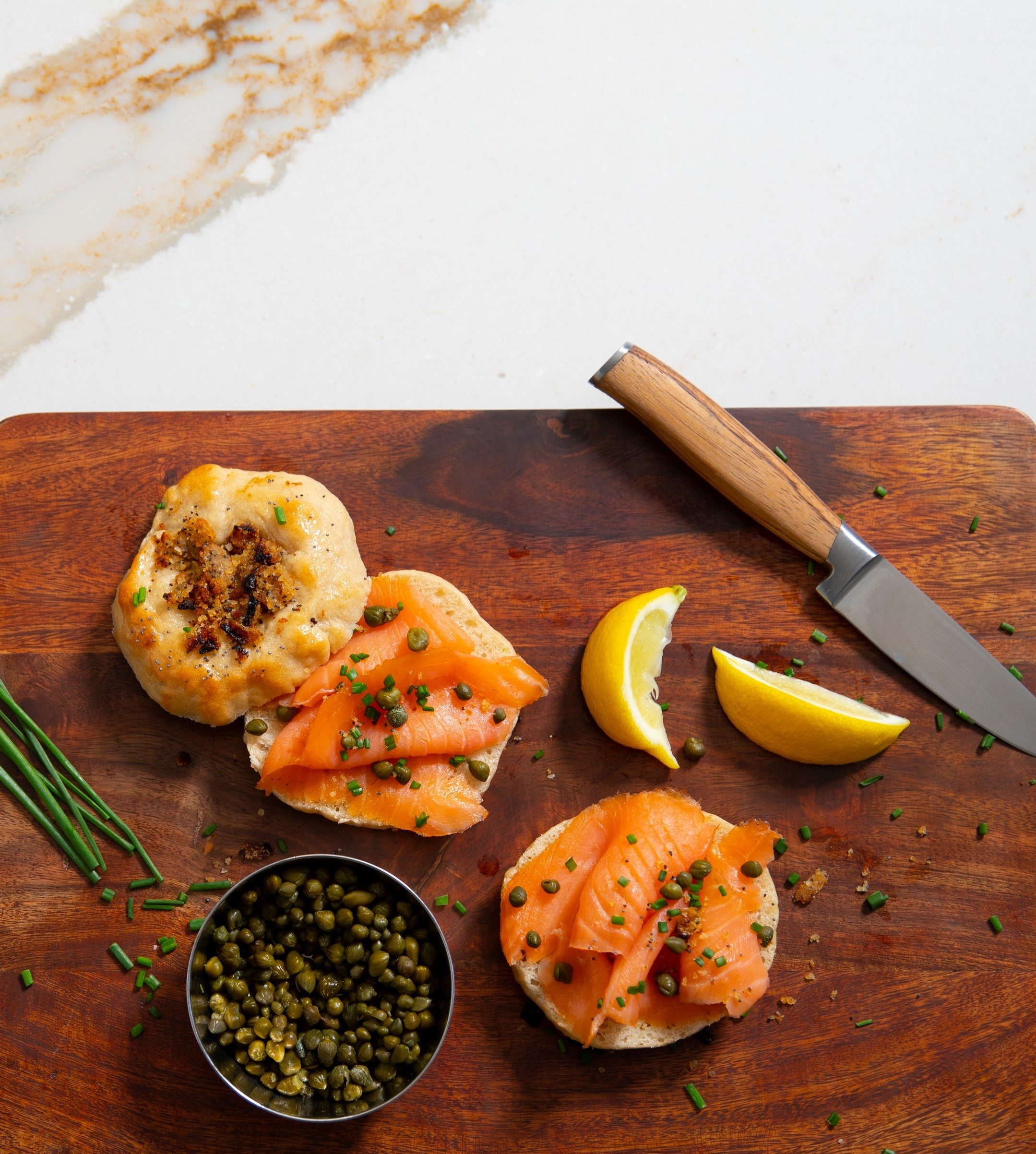 savory bialys and gravlax