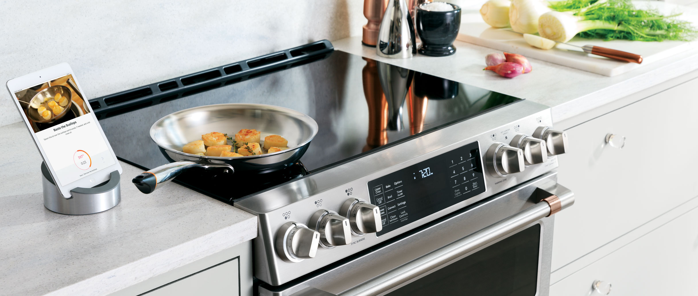 Cafe stainless steel induction range guided cooking