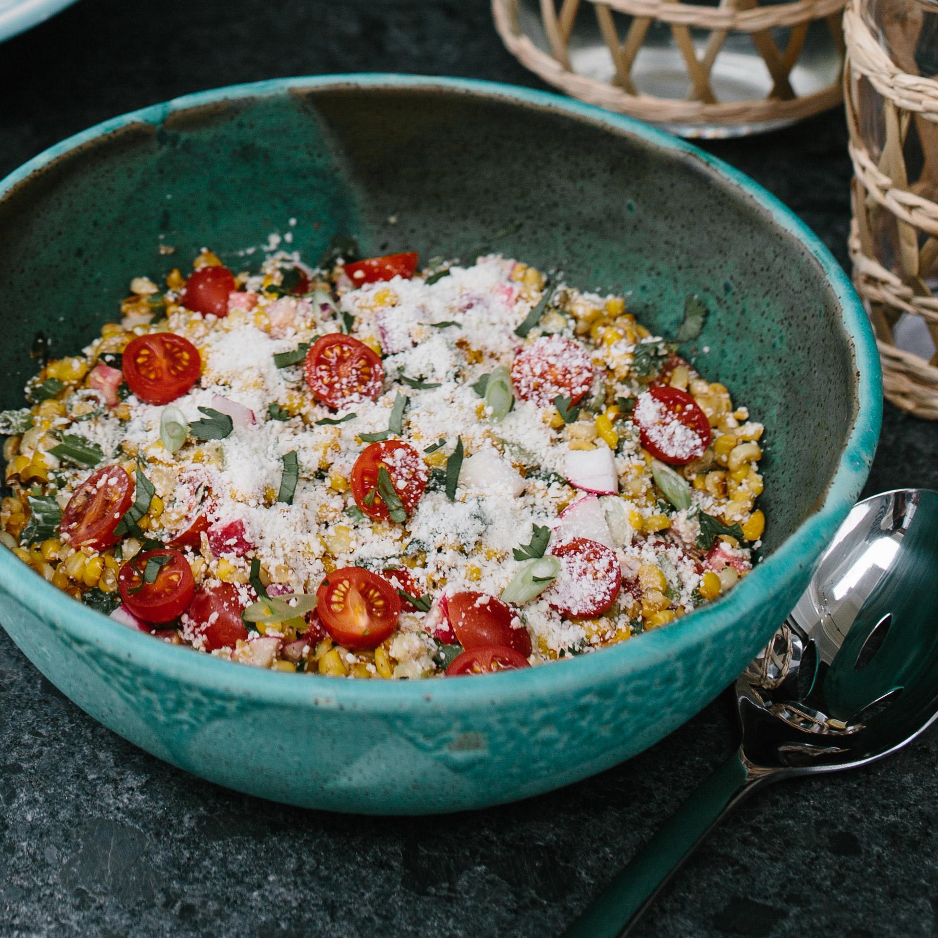 Charred Corn and Tomato Salad with Radishes and Cotija