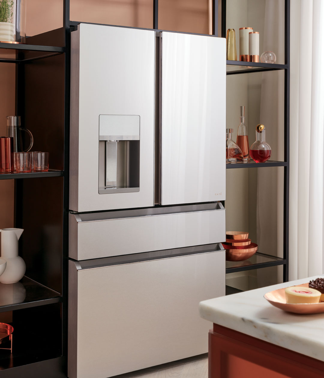 modern glass refrigerator with open shelving