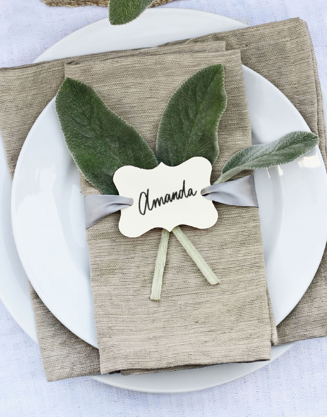 Table setting with place card