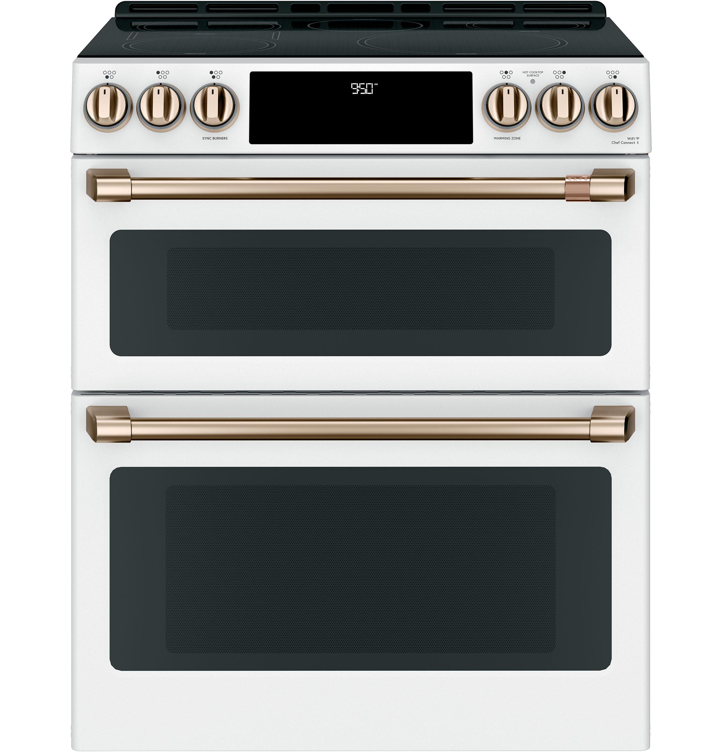 matte white double oven range