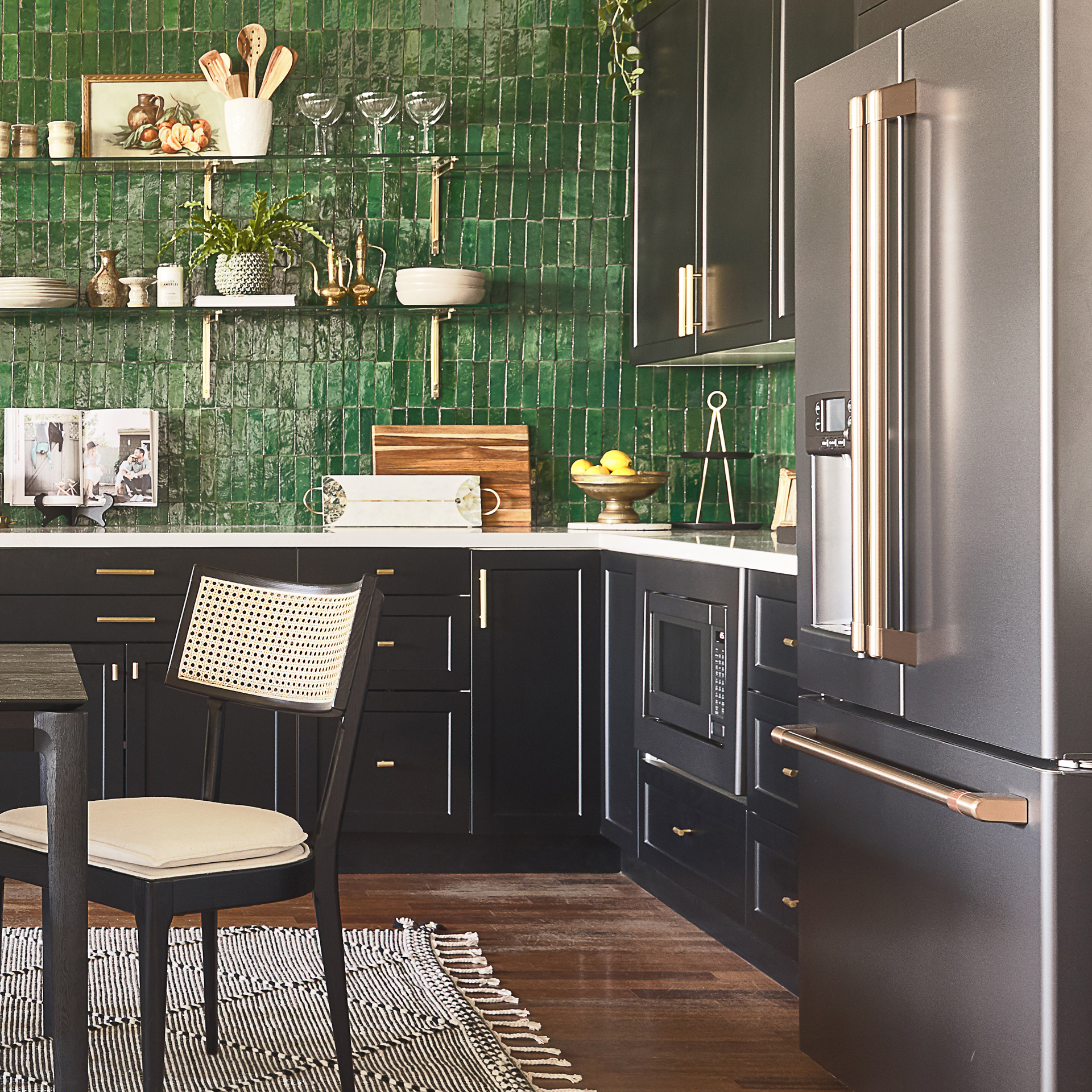 Bright green tile with Matte Black appliances
