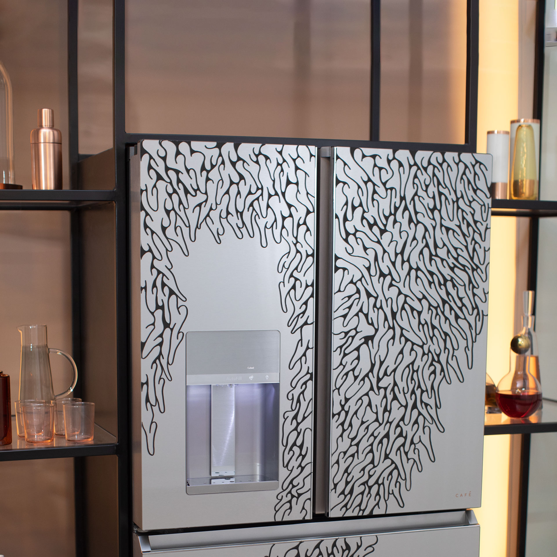 Modern glass refrigerator with artist drawing