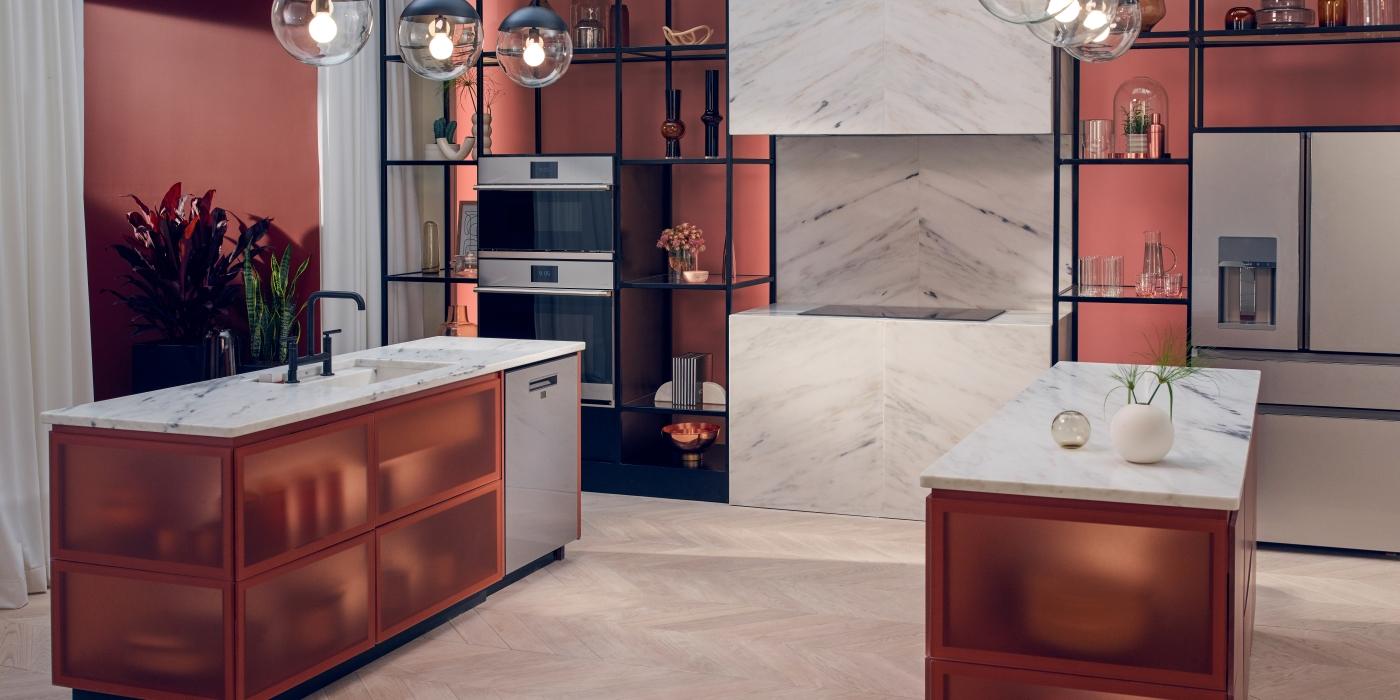 modern kitchen with platinum glass appliances