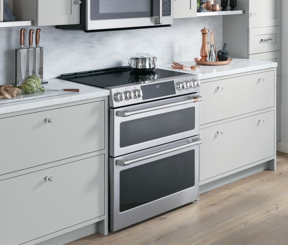 slide in double oven induction range
