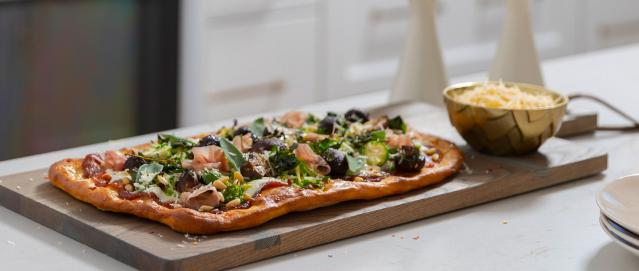 Brussels sprouts flatbread in white kitchen