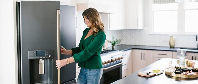 gretchen black looking inside black matte refrigerator