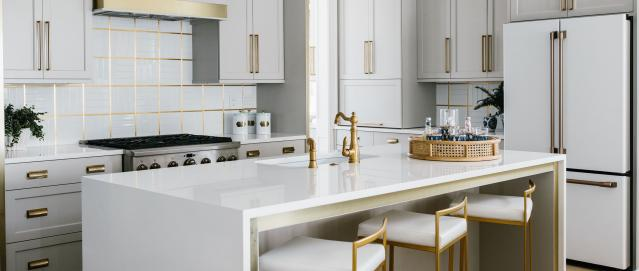 Matte white appliances in white kitchen with metal accents