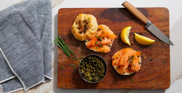bialys with chives, gravlax, and capers