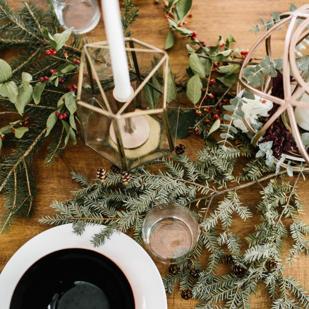 christmas pine garland tablescape