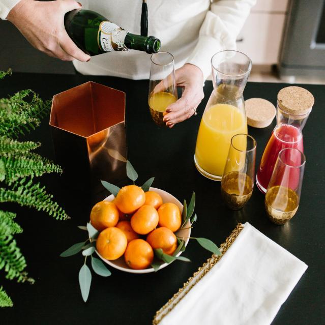 orange and pomegranate mimosas