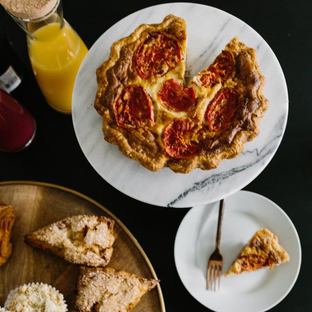 roasted tomato quiche and pastries