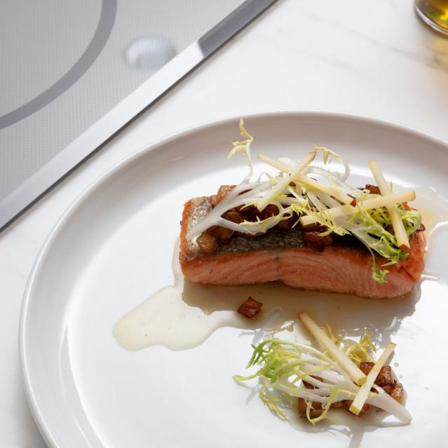 Salmon cooked with Hestan Cue on Induction cooktop