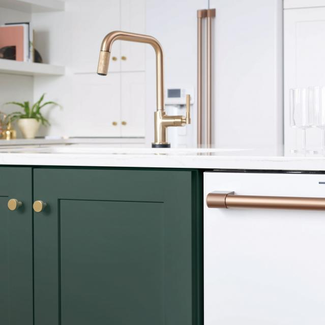 brushed bronze dishwasher bar with bronze cabinet pulls