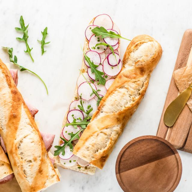 radish and butter baguette sandwich
