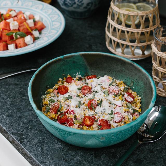 charred corn tomato salad