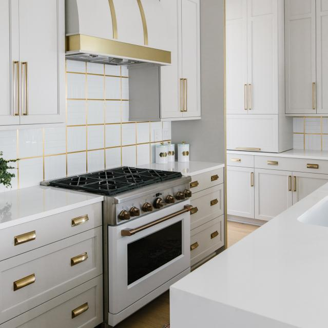 Kitchen designed by Gretchen Black with 36 inch range