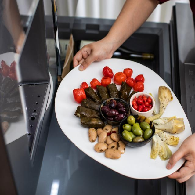Mezze platter in refrigerator drawer