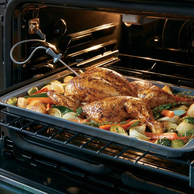 Roast chicken in oven with meat probe