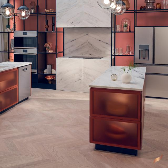 Modern glass appliances in a contemporary kitchen