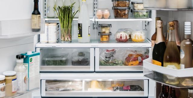 matte white refrigerator interior organized